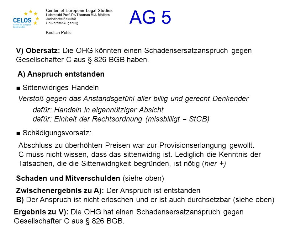 V) Obersatz: Die OHG könnten einen Schadensersatzanspruch gegen