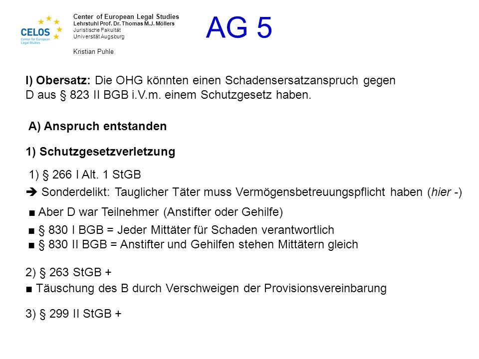 I) Obersatz: Die OHG könnten einen Schadensersatzanspruch gegen