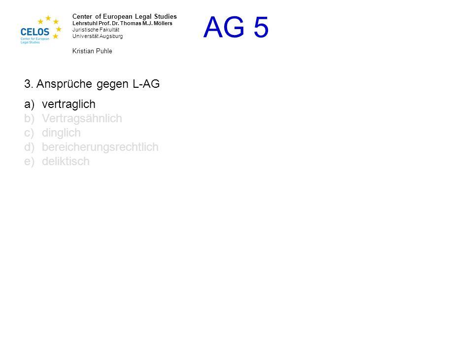 3. Ansprüche gegen L-AG vertraglich Vertragsähnlich dinglich bereicherungsrechtlich deliktisch