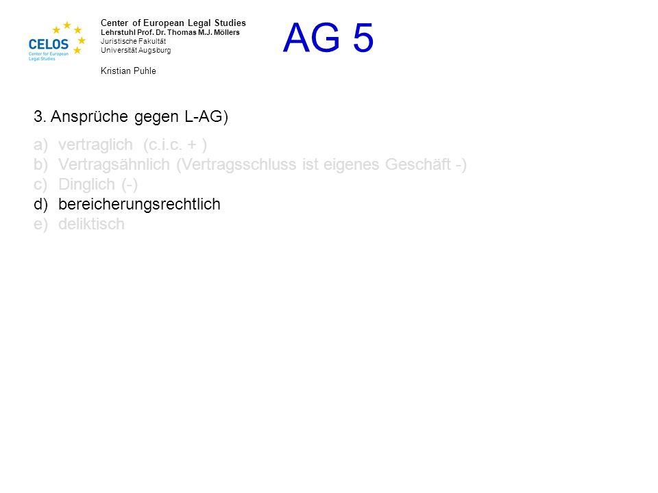 3. Ansprüche gegen L-AG) vertraglich (c.i.c. + ) Vertragsähnlich (Vertragsschluss ist eigenes Geschäft -)