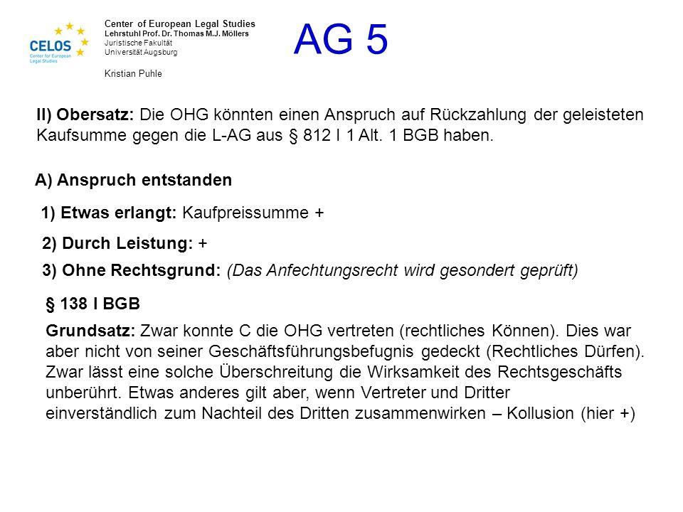 II) Obersatz: Die OHG könnten einen Anspruch auf Rückzahlung der geleisteten