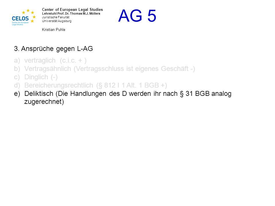 3. Ansprüche gegen L-AG vertraglich (c.i.c. + ) Vertragsähnlich (Vertragsschluss ist eigenes Geschäft -)