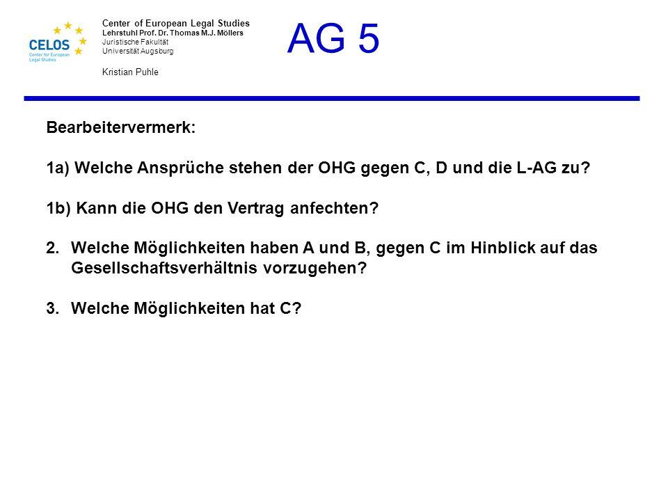Bearbeitervermerk: 1a) Welche Ansprüche stehen der OHG gegen C, D und die L-AG zu 1b) Kann die OHG den Vertrag anfechten