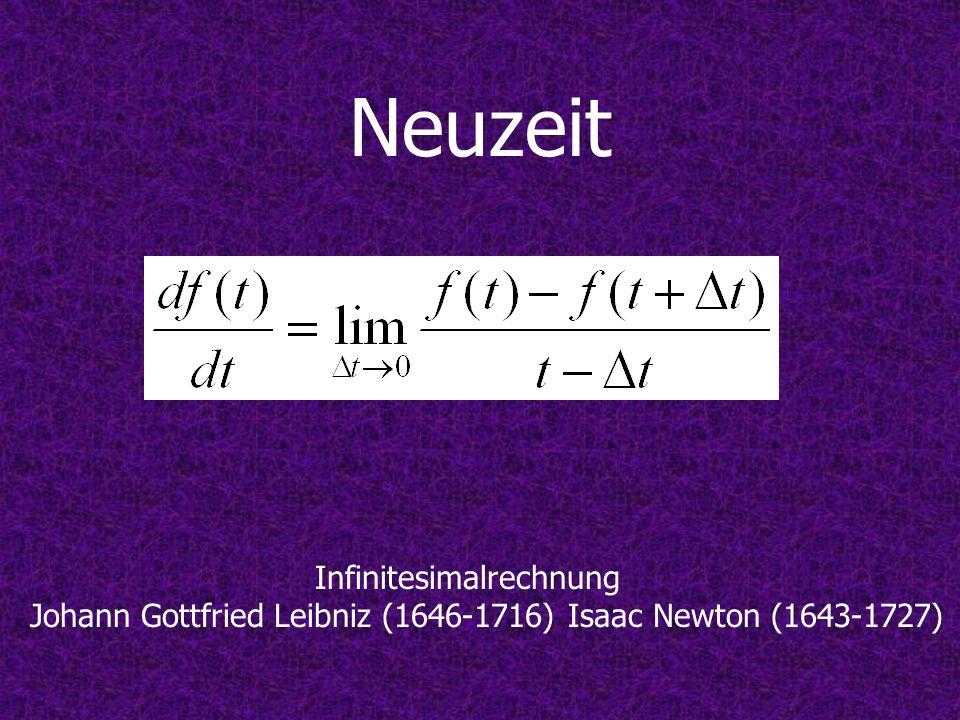 Neuzeit Infinitesimalrechnung Johann Gottfried Leibniz (1646-1716) Isaac Newton (1643-1727)