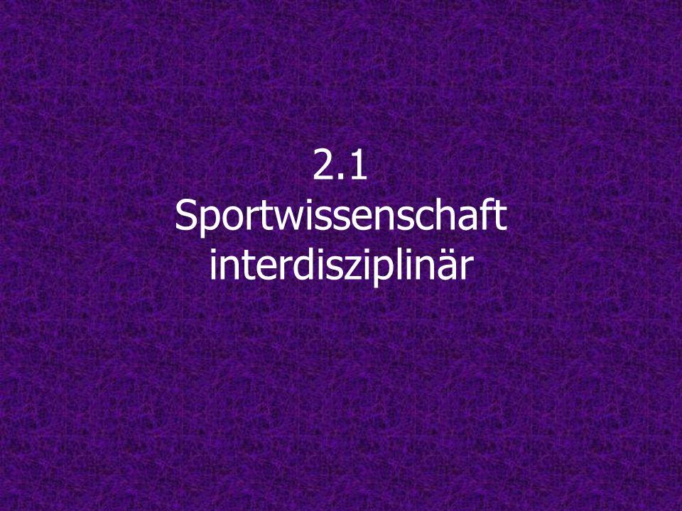 2.1 Sportwissenschaft interdisziplinär
