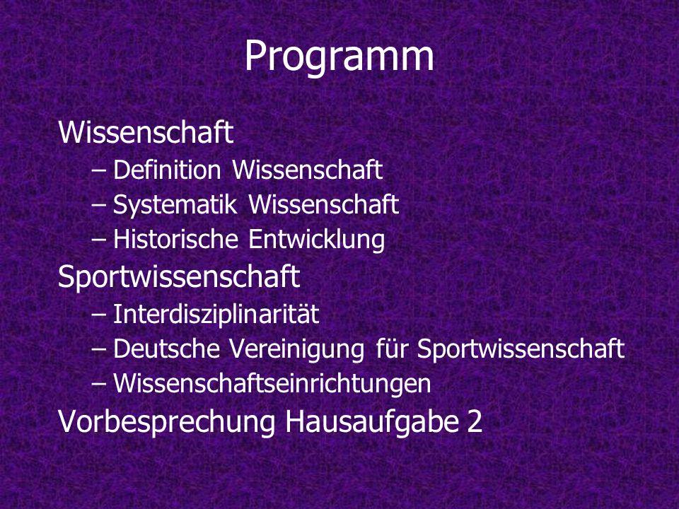 Programm Wissenschaft Sportwissenschaft Vorbesprechung Hausaufgabe 2