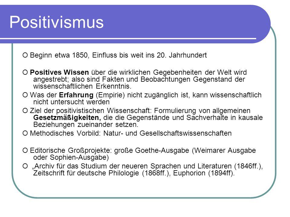 Positivismus O Beginn etwa 1850, Einfluss bis weit ins 20. Jahrhundert