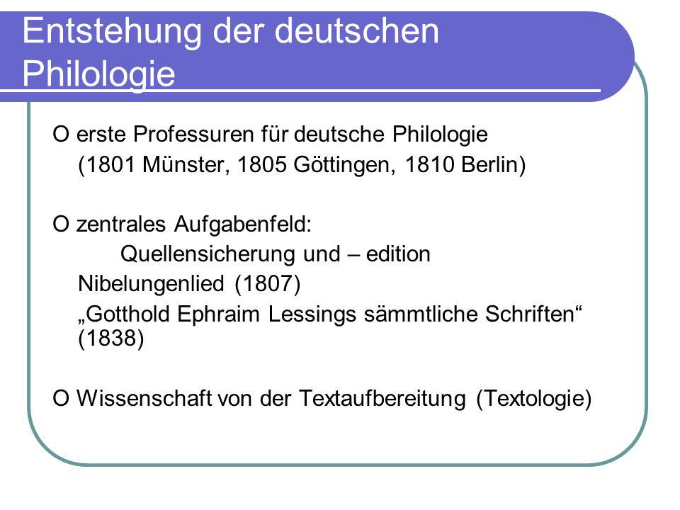 Entstehung der deutschen Philologie