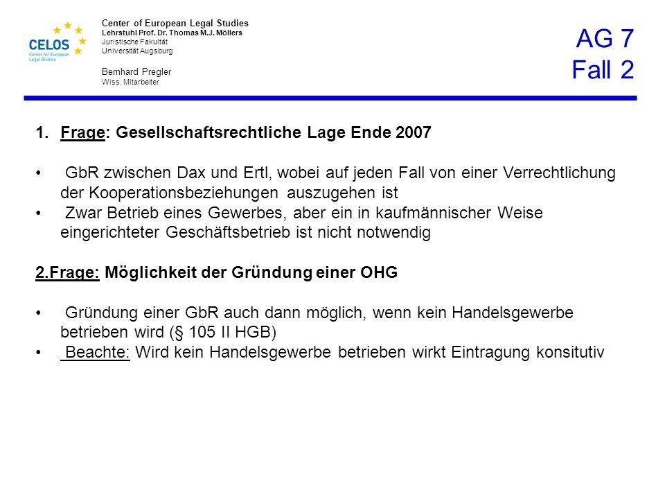 AG 7 Fall 2 Frage: Gesellschaftsrechtliche Lage Ende 2007