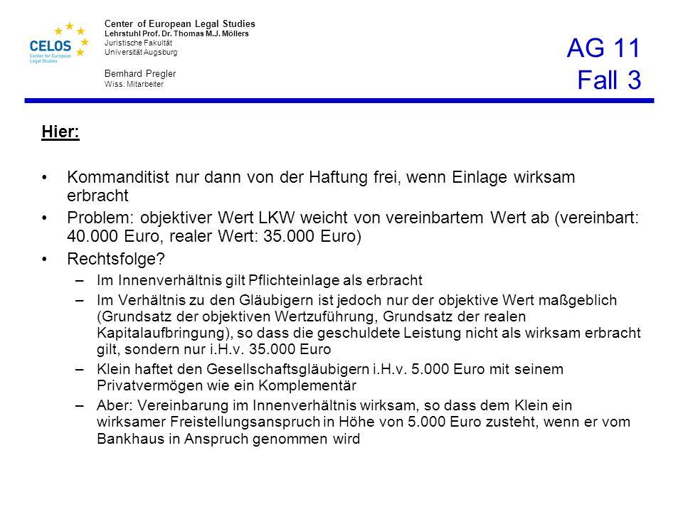 AG 11 Fall 3 Hier: Kommanditist nur dann von der Haftung frei, wenn Einlage wirksam erbracht.