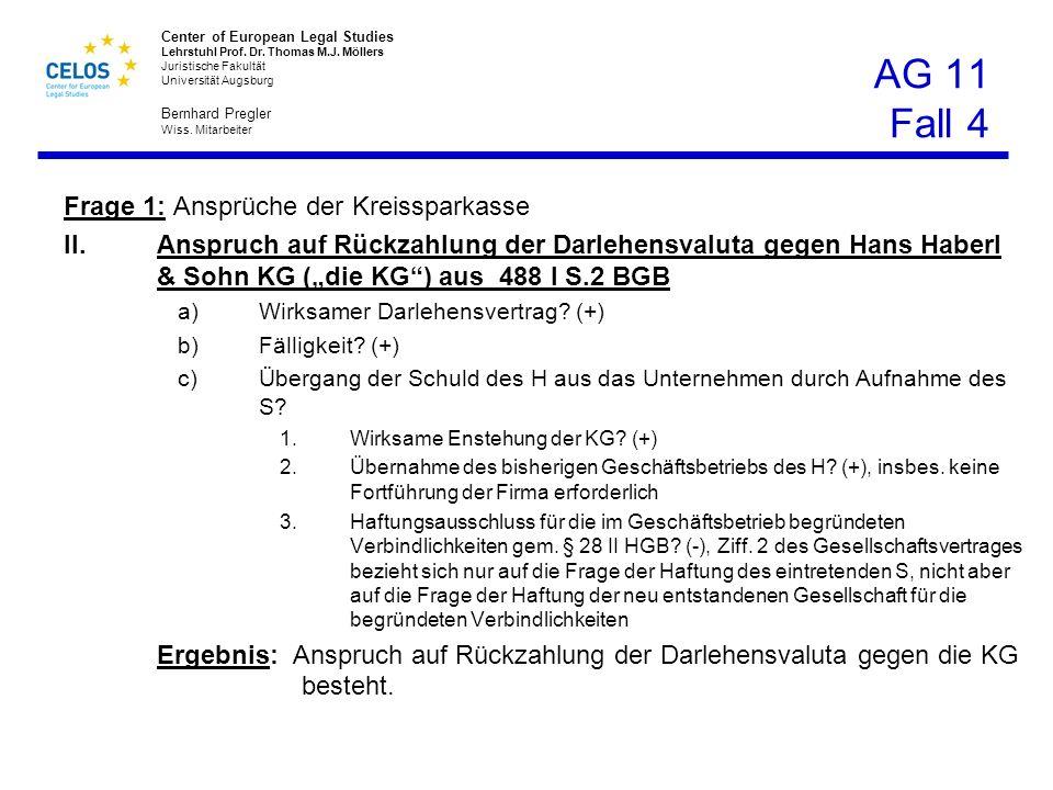 AG 11 Fall 4 Frage 1: Ansprüche der Kreissparkasse