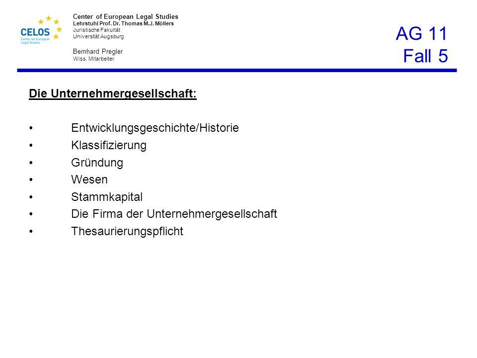 AG 11 Fall 5 Die Unternehmergesellschaft: