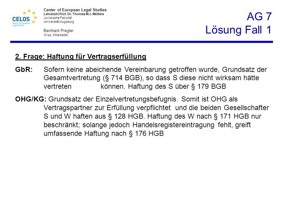 AG 7 Lösung Fall 1 2. Frage: Haftung für Vertragserfüllung