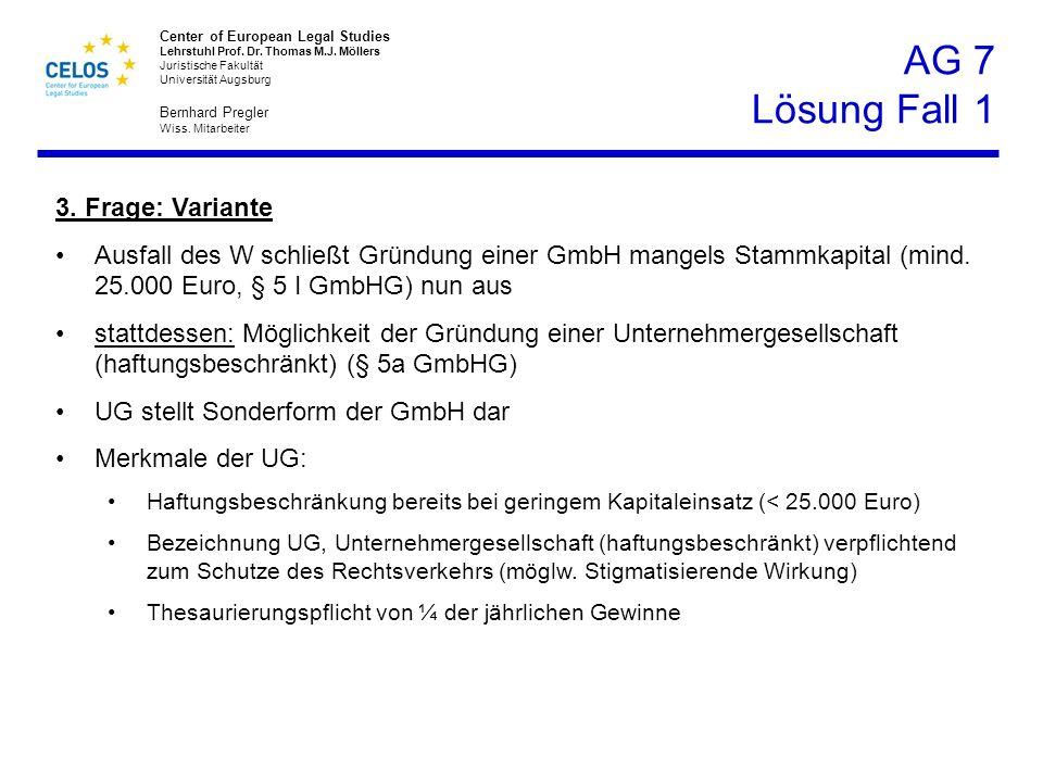 AG 7 Lösung Fall 1 3. Frage: Variante
