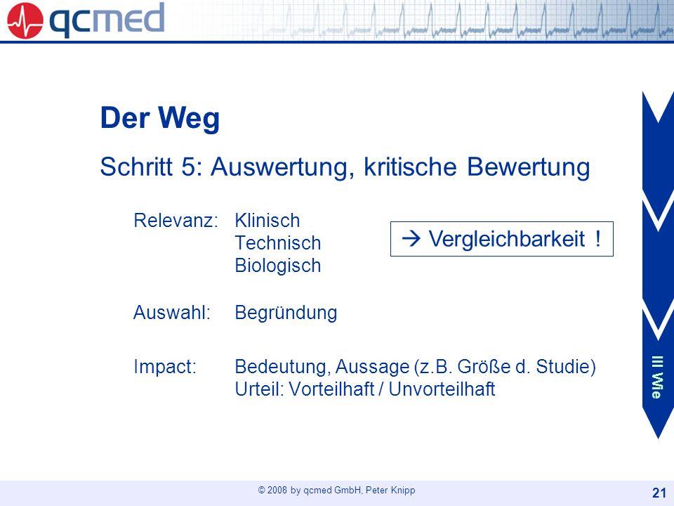 Der Weg I Thema. Schritt 5: Auswertung, kritische Bewertung Relevanz: Klinisch Technisch Biologisch.