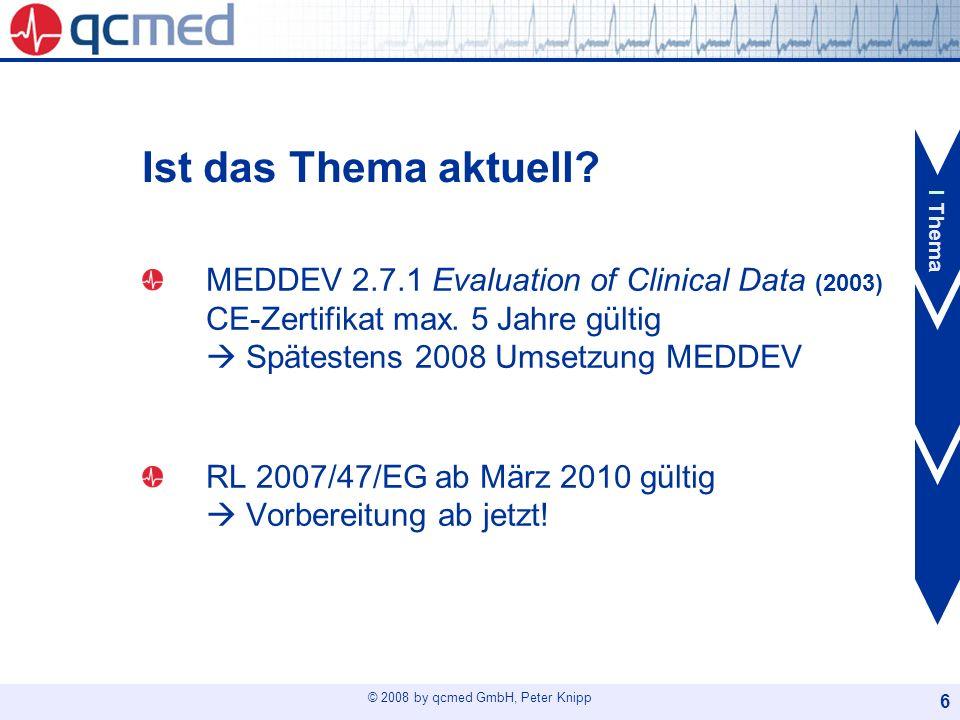 Ist das Thema aktuell I Thema. MEDDEV 2.7.1 Evaluation of Clinical Data (2003) CE-Zertifikat max. 5 Jahre gültig  Spätestens 2008 Umsetzung MEDDEV.