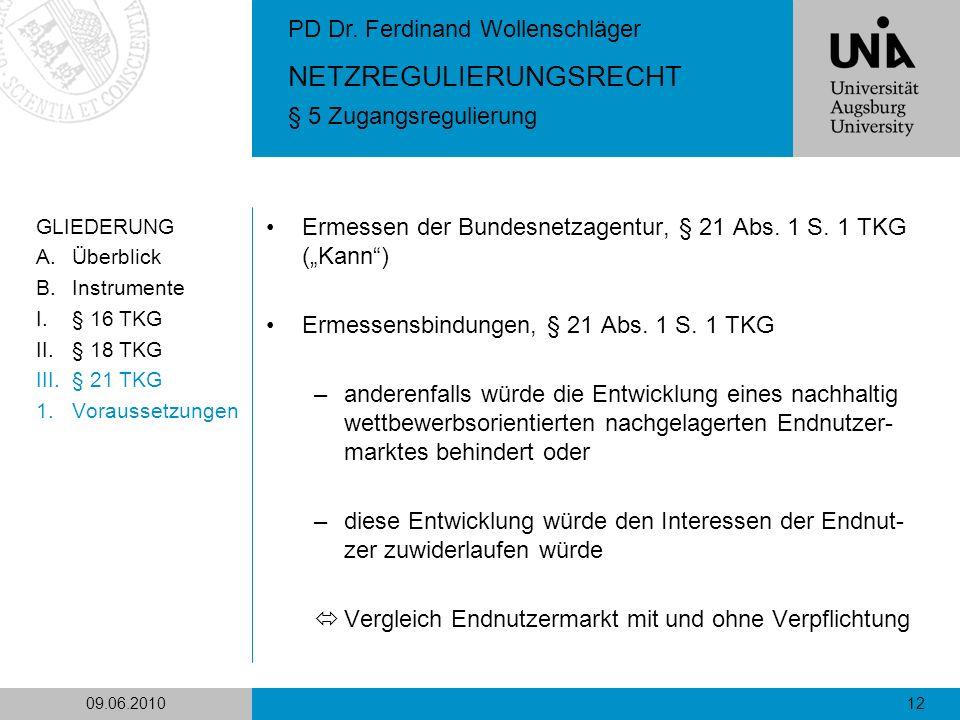 "Ermessen der Bundesnetzagentur, § 21 Abs. 1 S. 1 TKG (""Kann )"