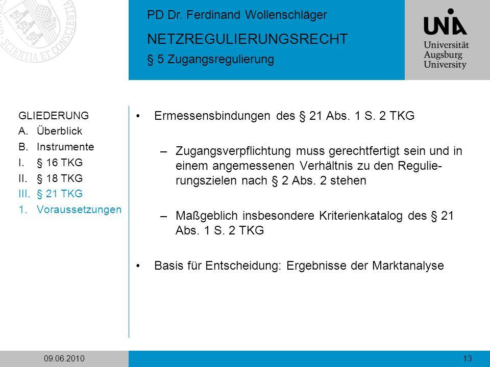 Ermessensbindungen des § 21 Abs. 1 S. 2 TKG