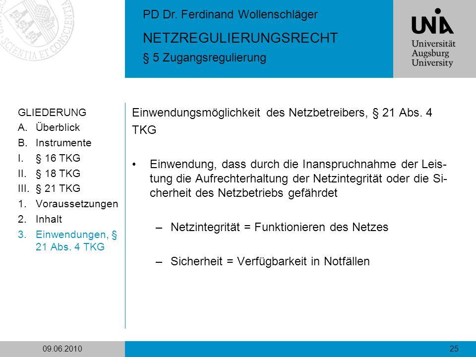 Einwendungsmöglichkeit des Netzbetreibers, § 21 Abs. 4 TKG
