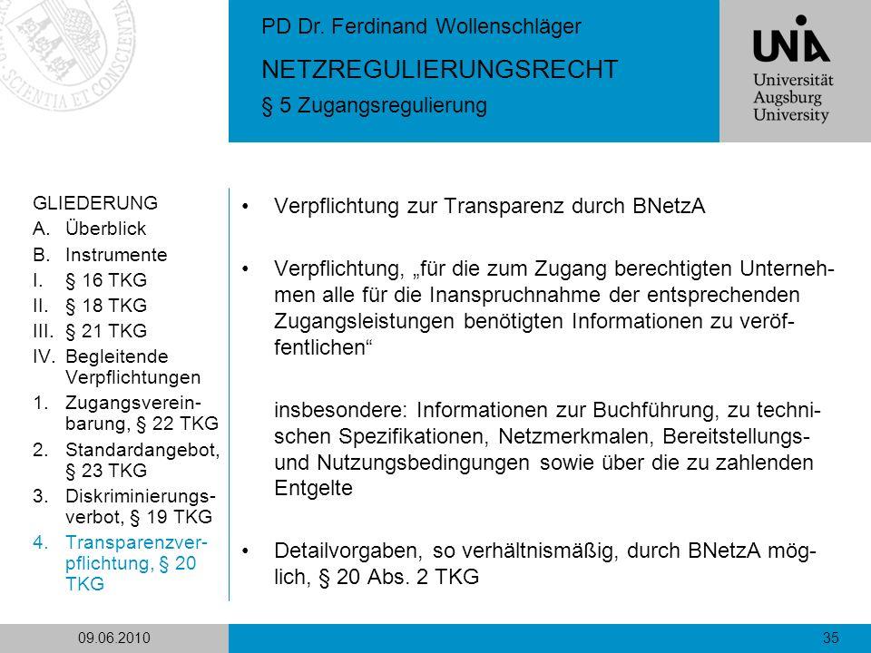 Verpflichtung zur Transparenz durch BNetzA