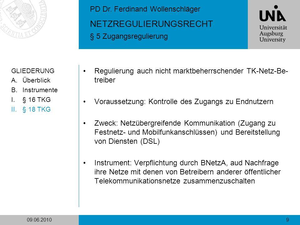 Regulierung auch nicht marktbeherrschender TK-Netz-Be-treiber