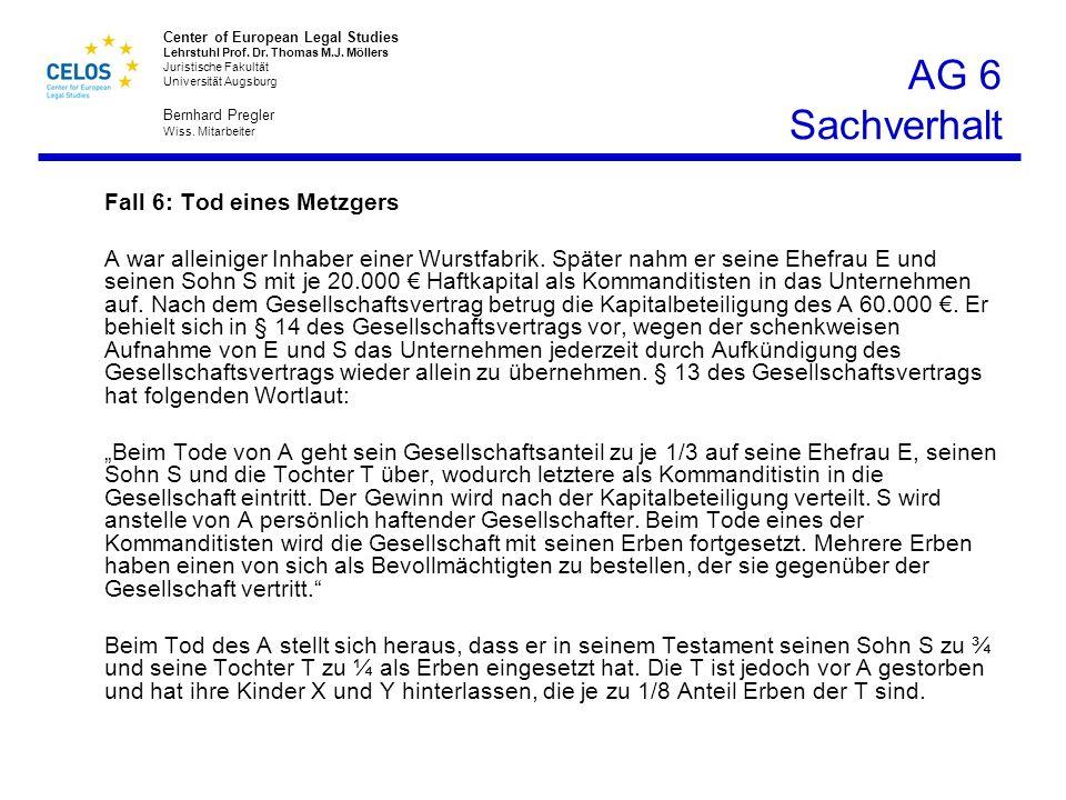 AG 6 Sachverhalt Fall 6: Tod eines Metzgers.