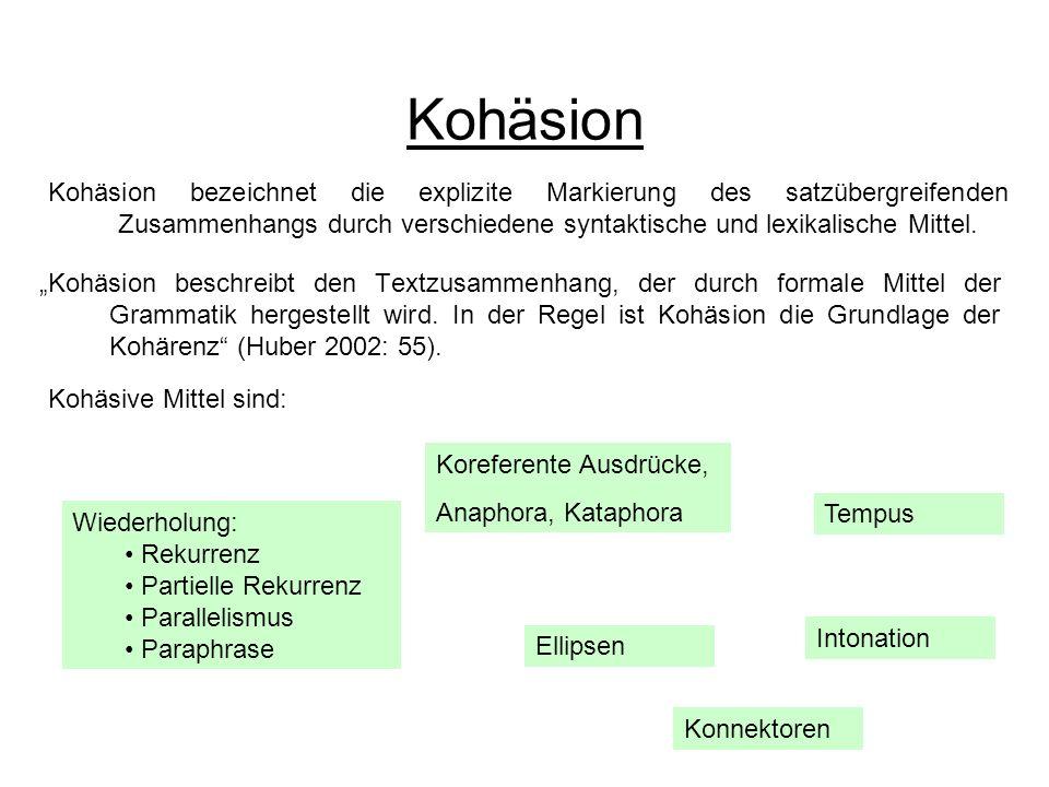 Kohäsion Kohäsion bezeichnet die explizite Markierung des satzübergreifenden Zusammenhangs durch verschiedene syntaktische und lexikalische Mittel.