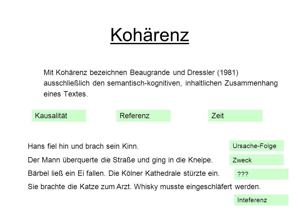 Kohärenz Mit Kohärenz bezeichnen Beaugrande und Dressler (1981)