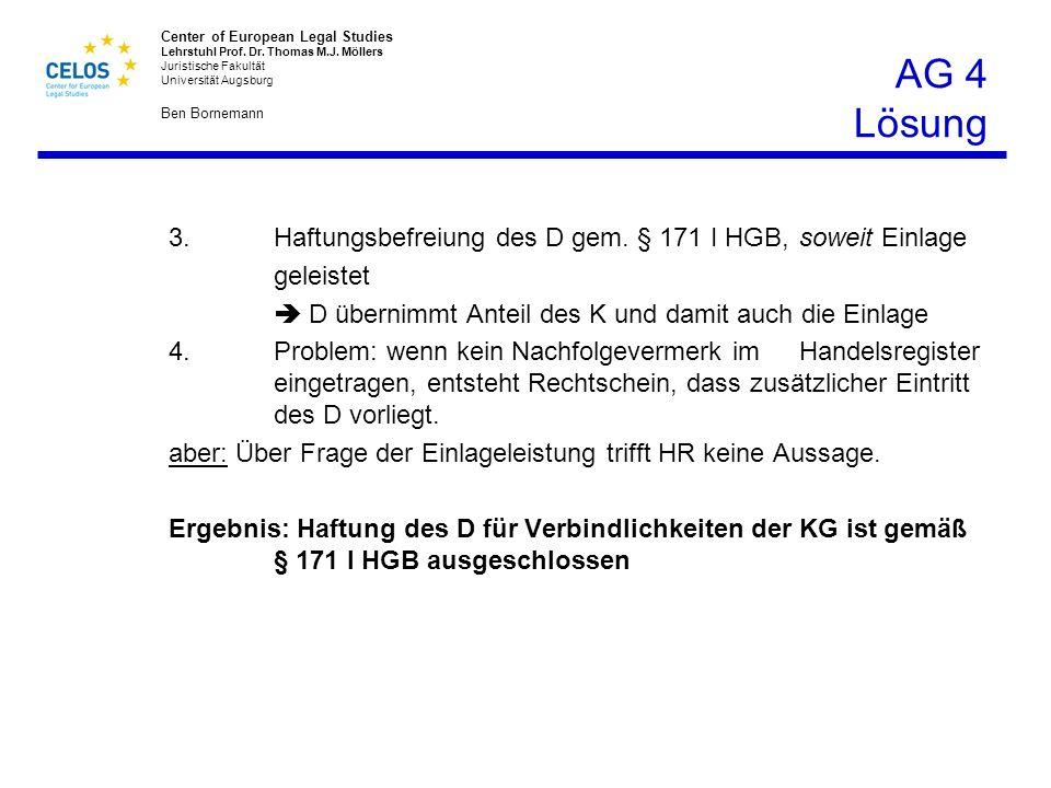 3. Haftungsbefreiung des D gem. § 171 I HGB, soweit Einlage geleistet
