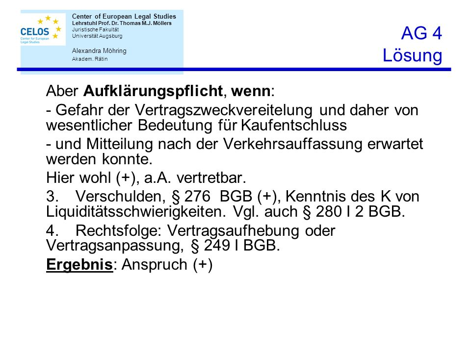 AG 4 Lösung Aber Aufklärungspflicht, wenn: