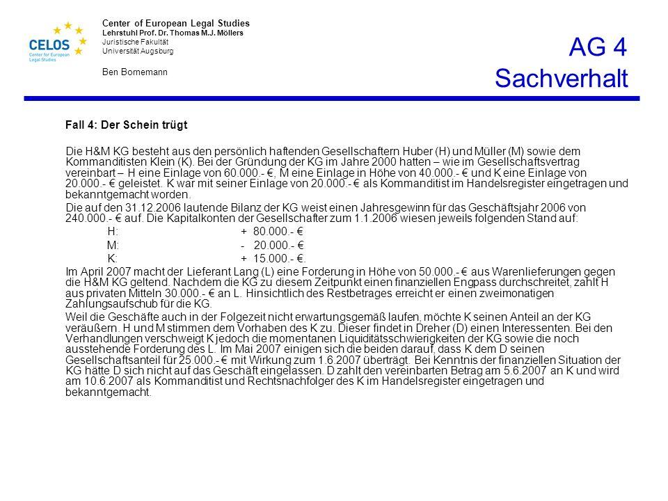 AG 4 Sachverhalt Fall 4: Der Schein trügt.