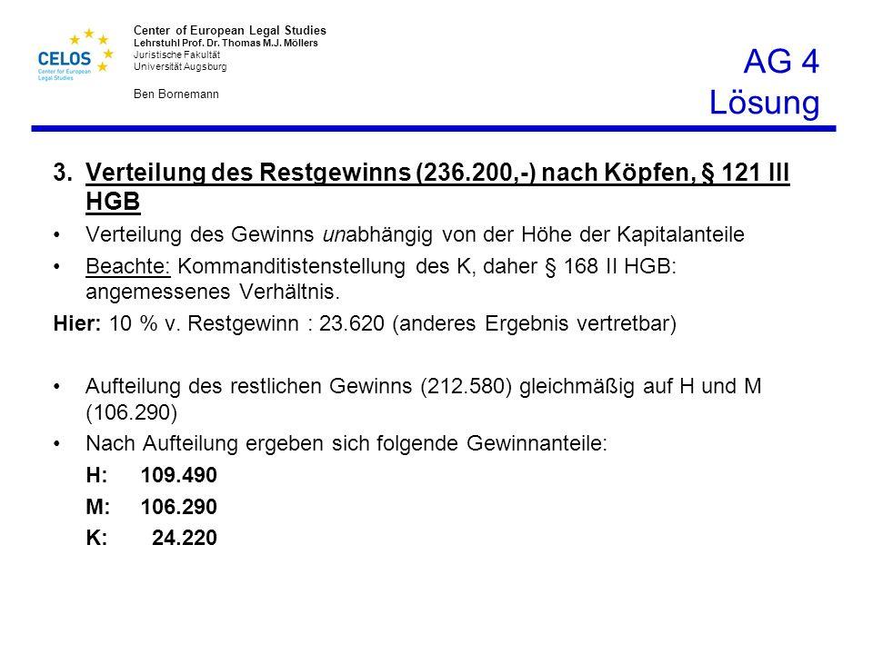 AG 4 Lösung 3. Verteilung des Restgewinns (236.200,-) nach Köpfen, § 121 III HGB. Verteilung des Gewinns unabhängig von der Höhe der Kapitalanteile.