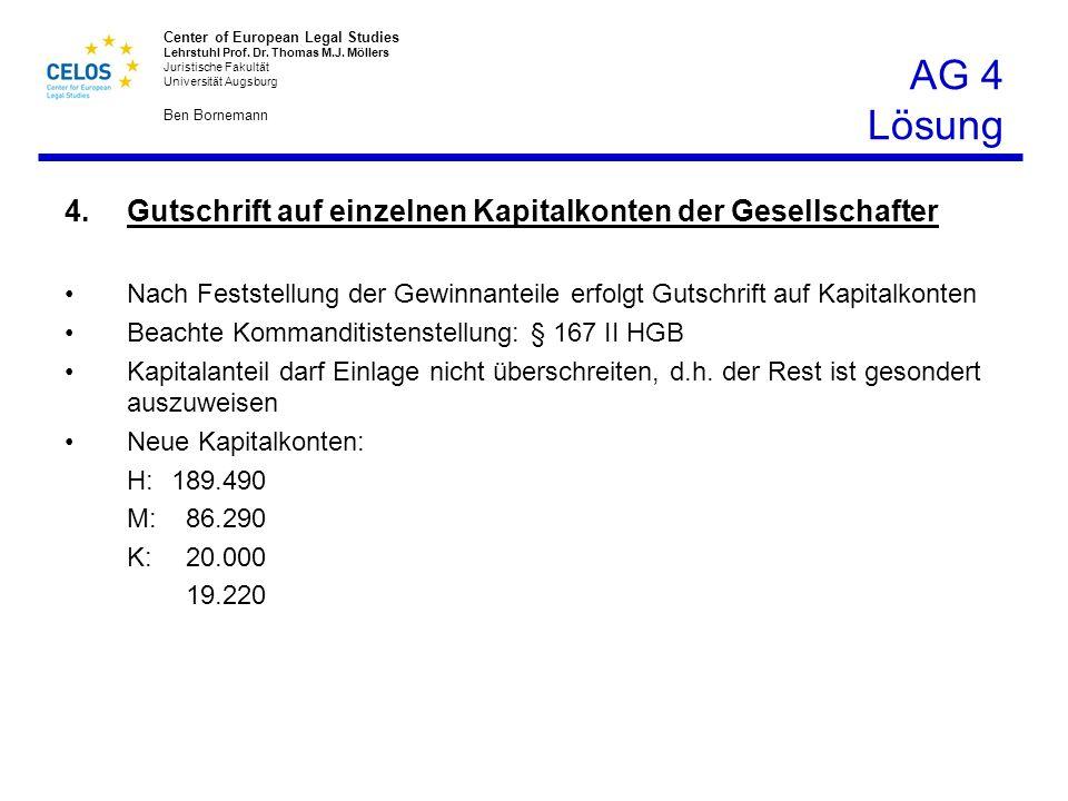 AG 4 Lösung Gutschrift auf einzelnen Kapitalkonten der Gesellschafter