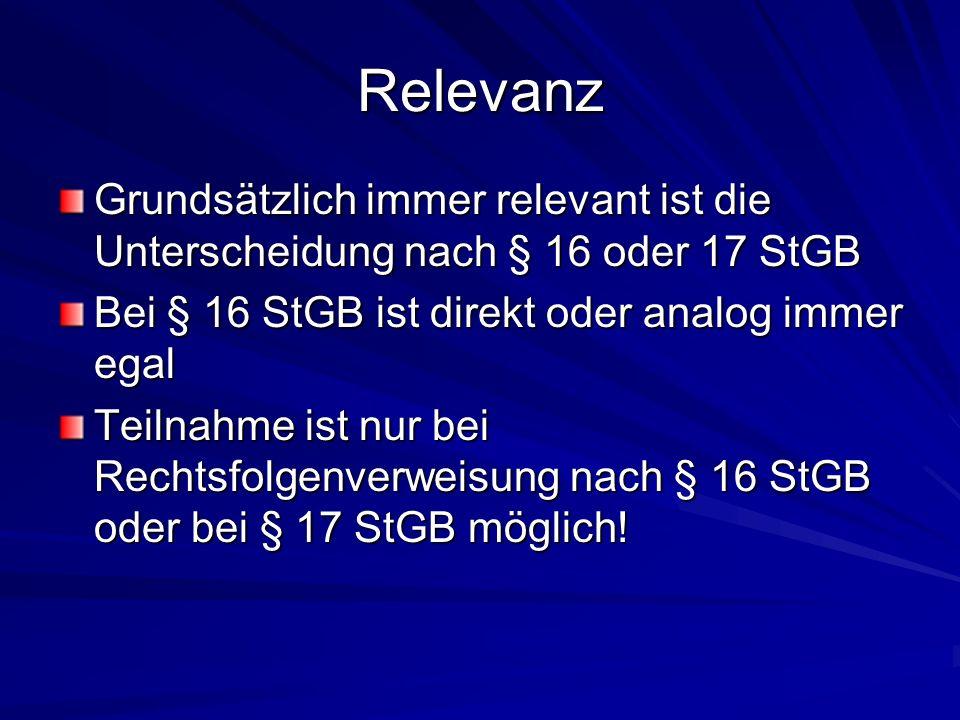 RelevanzGrundsätzlich immer relevant ist die Unterscheidung nach § 16 oder 17 StGB. Bei § 16 StGB ist direkt oder analog immer egal.