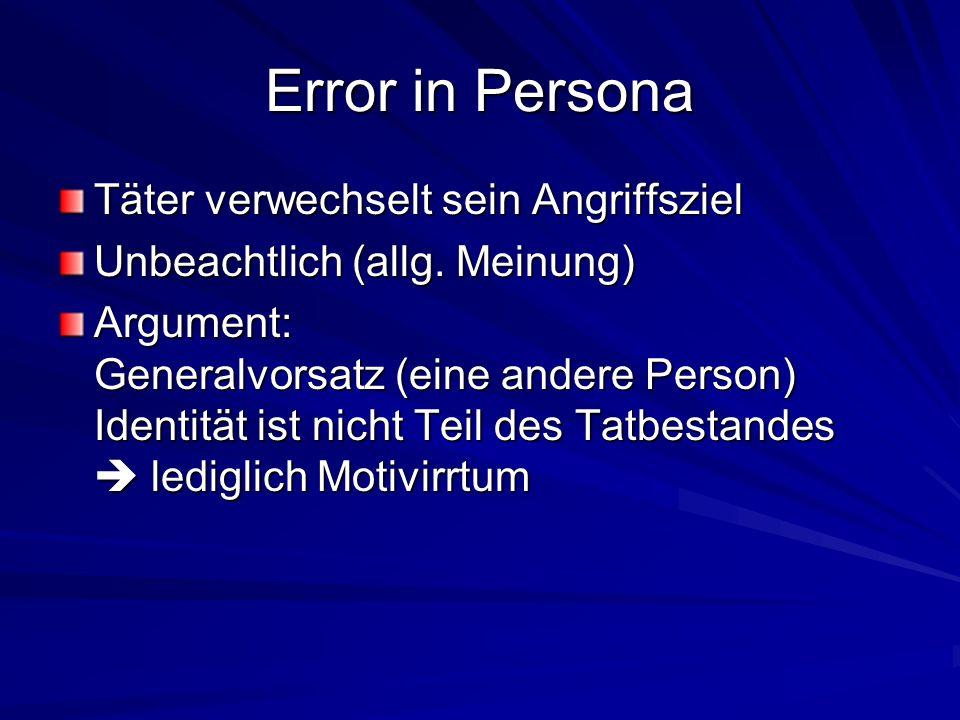 Error in Persona Täter verwechselt sein Angriffsziel
