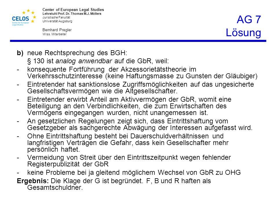 AG 7 Lösung b) neue Rechtsprechung des BGH:
