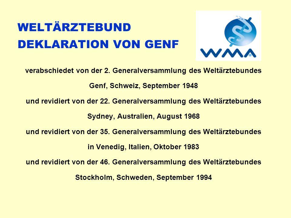 WELTÄRZTEBUND DEKLARATION VON GENF