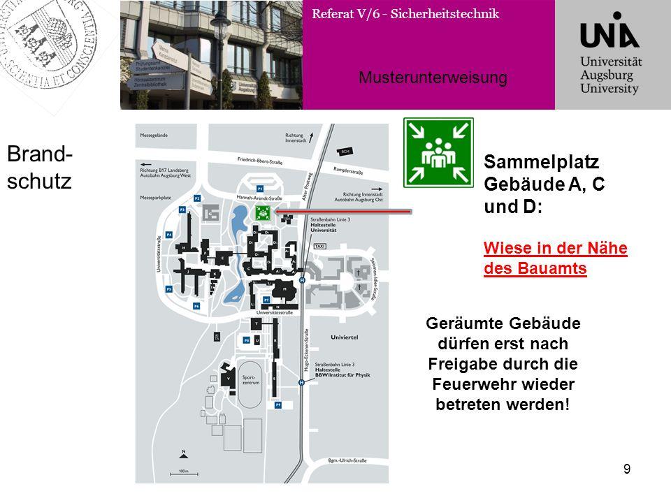 Brand-schutz Sammelplatz Gebäude A, C und D: