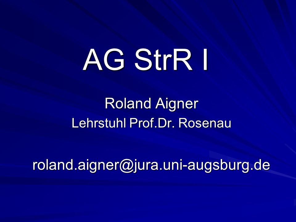 Lehrstuhl Prof.Dr. Rosenau