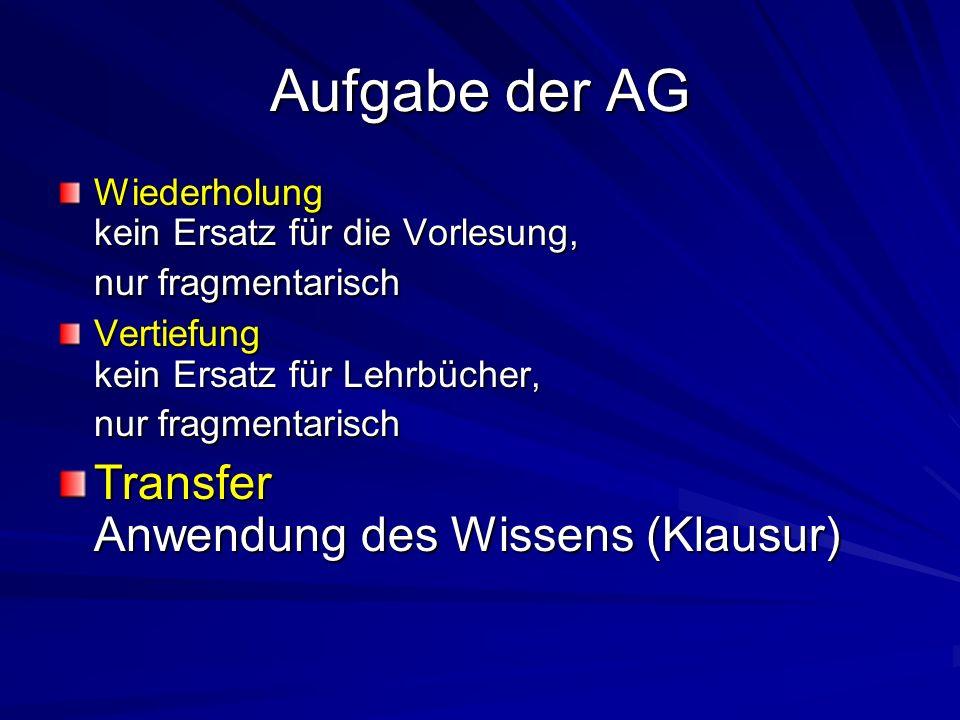 Aufgabe der AG Transfer Anwendung des Wissens (Klausur)