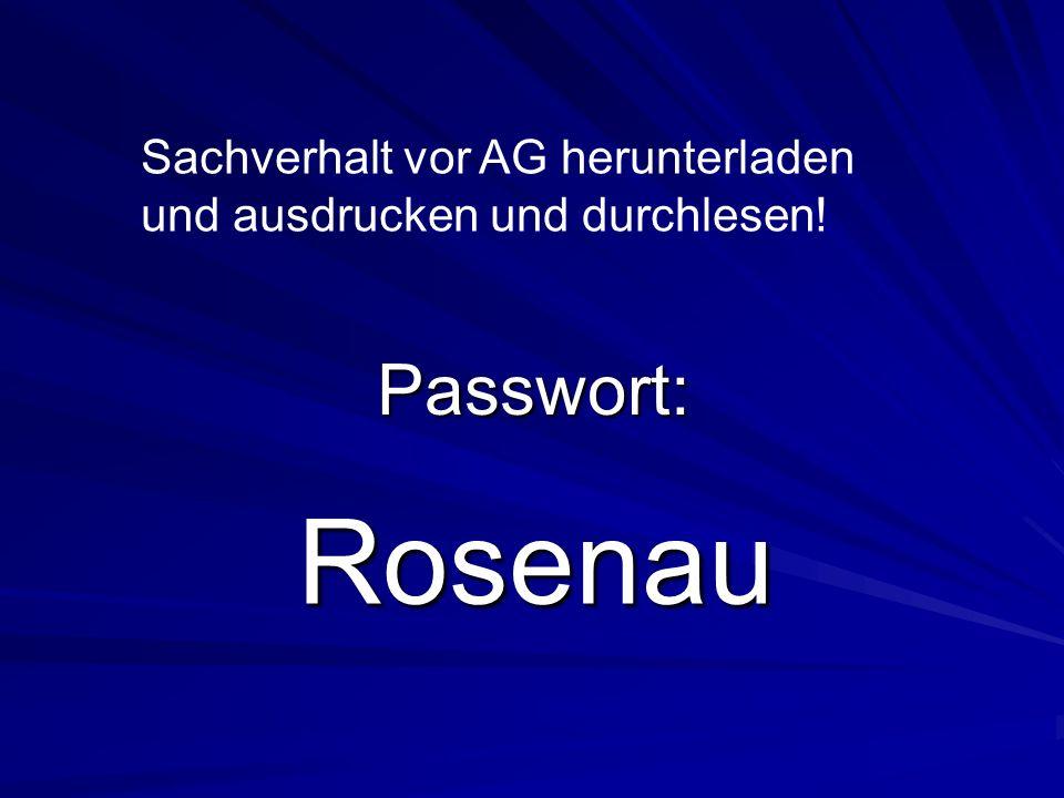 Rosenau Passwort: Sachverhalt vor AG herunterladen