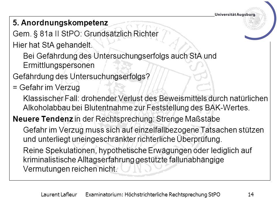 Laurent Lafleur Examinatorium: Höchstrichterliche Rechtsprechung StPO
