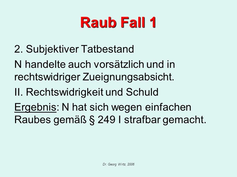 Raub Fall 1 2. Subjektiver Tatbestand