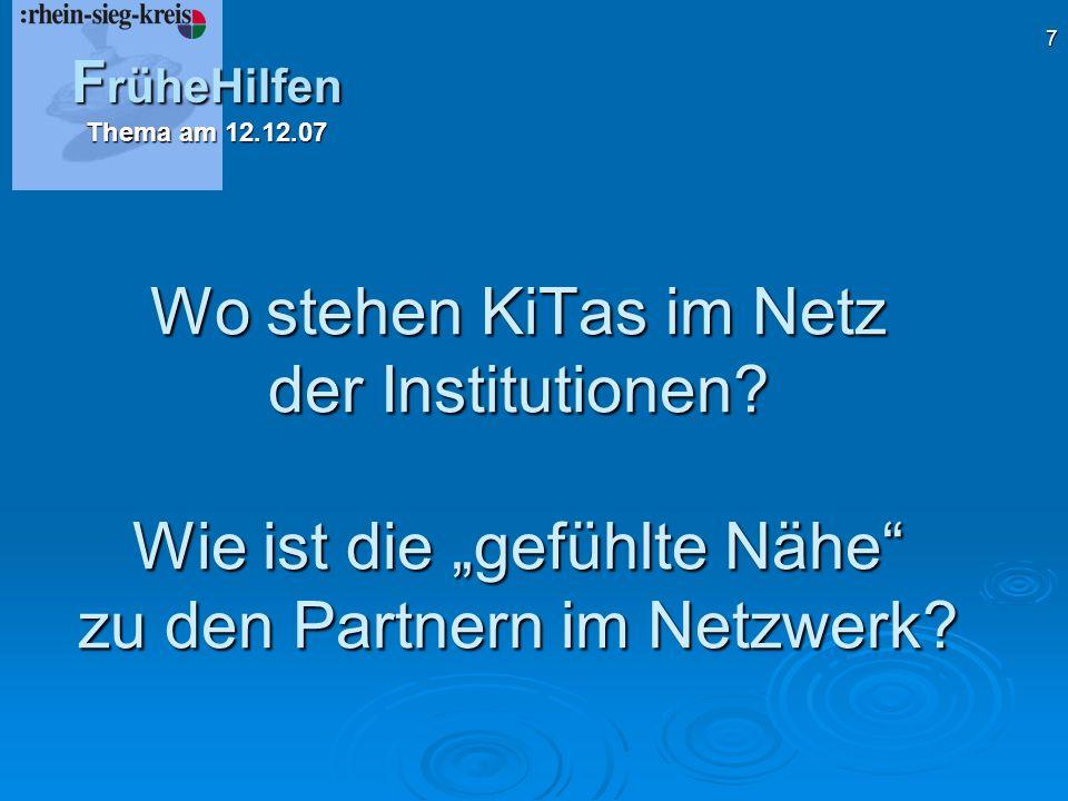FrüheHilfen Thema am 12.12.07. Wo stehen KiTas im Netz der Institutionen.