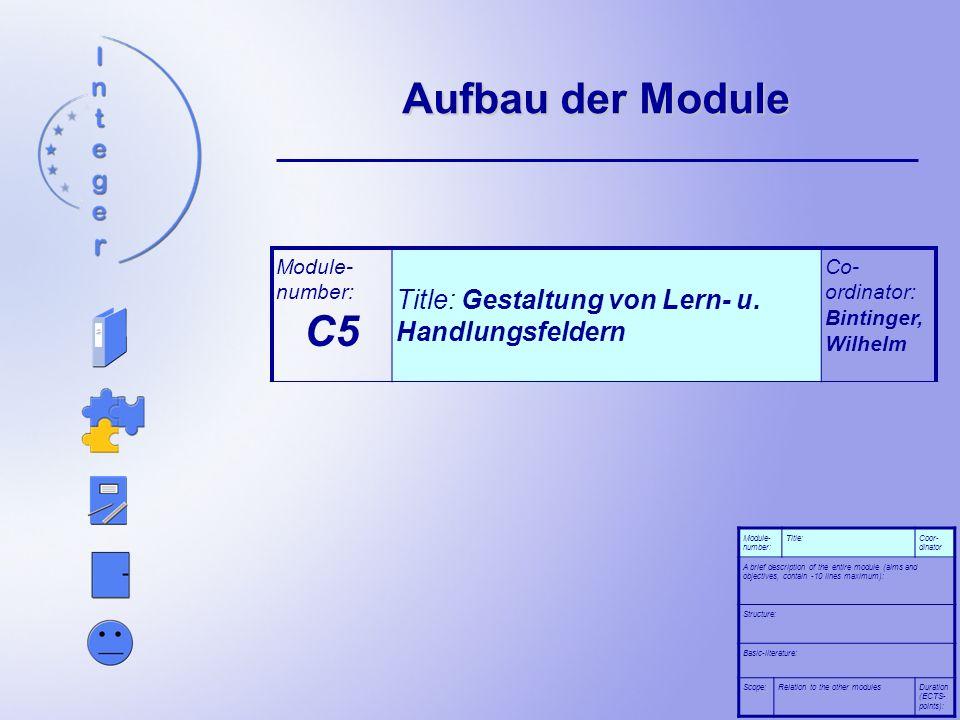 Aufbau der Module C5 Title: Gestaltung von Lern- u. Handlungsfeldern