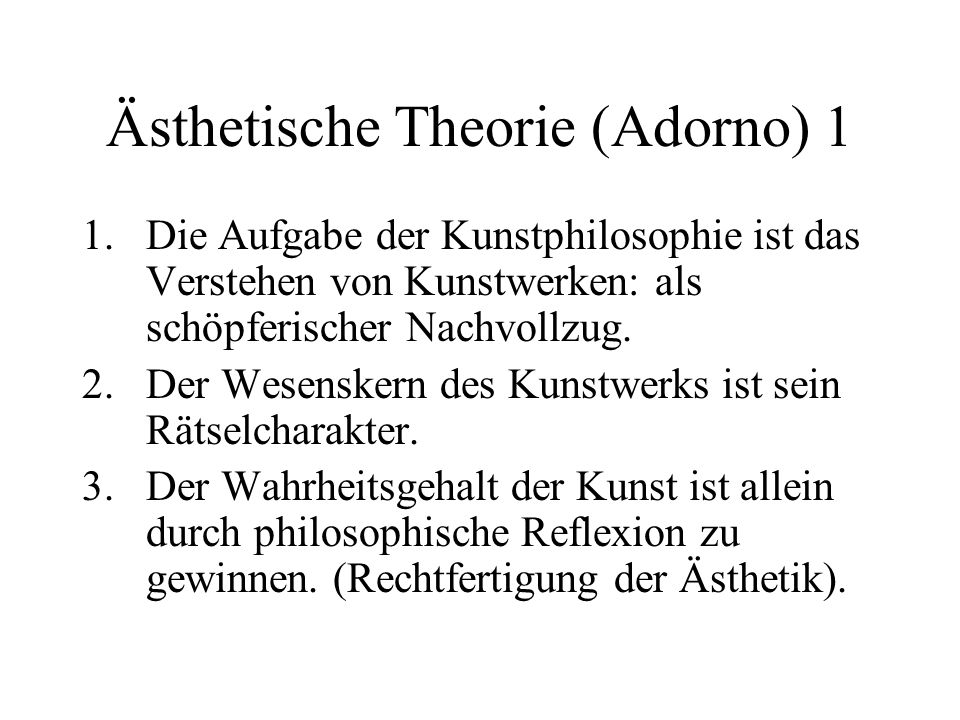Ästhetische Theorie (Adorno) 1