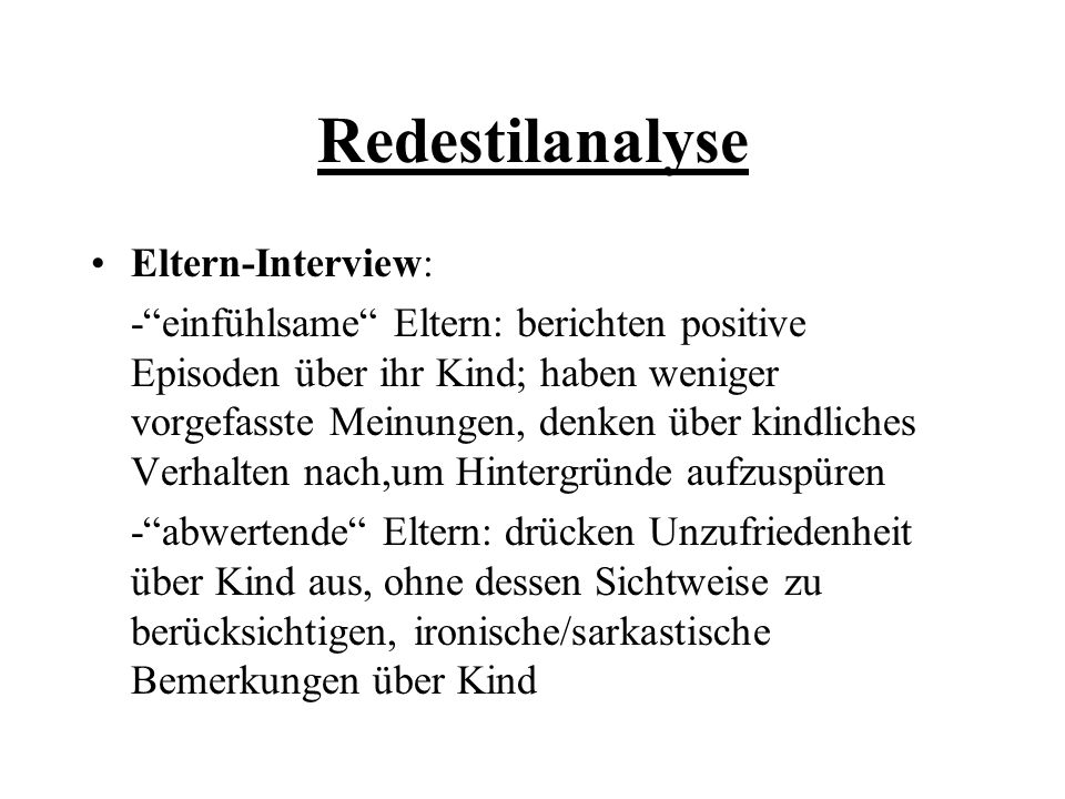 Redestilanalyse Eltern-Interview: