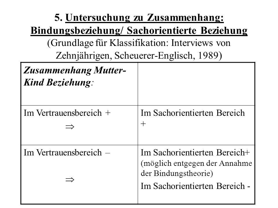 5. Untersuchung zu Zusammenhang: Bindungsbeziehung/ Sachorientierte Beziehung (Grundlage für Klassifikation: Interviews von Zehnjährigen, Scheuerer-Englisch, 1989)