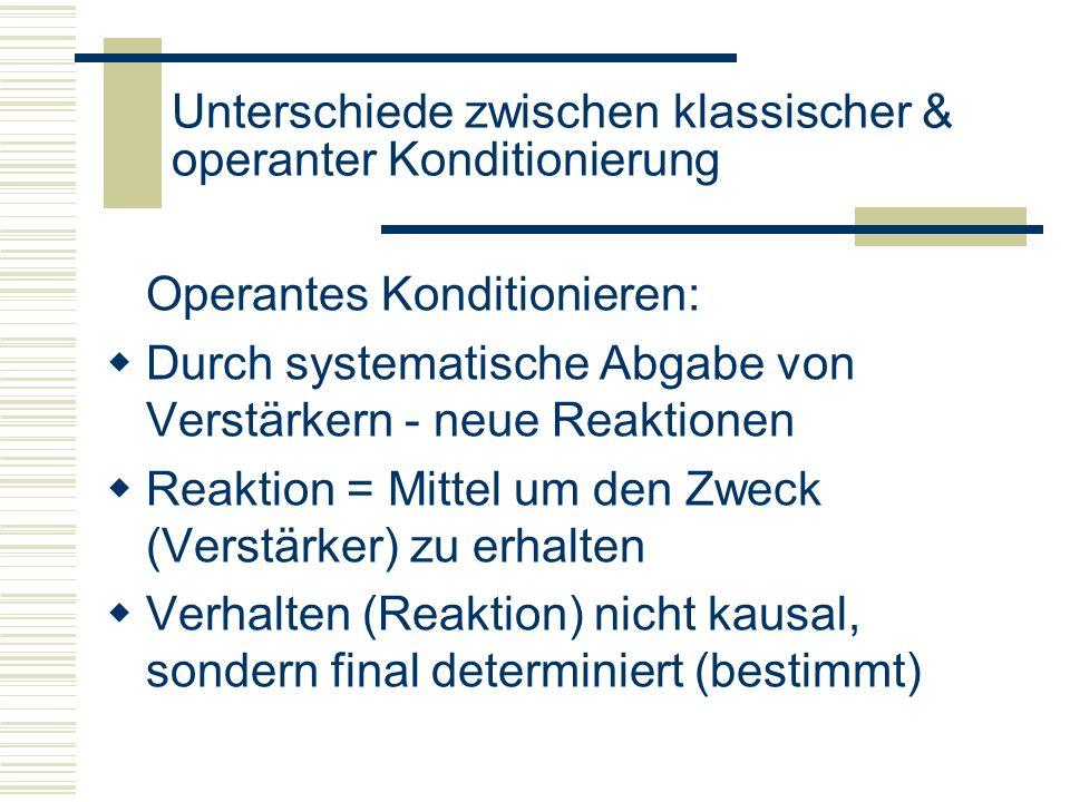 Unterschiede zwischen klassischer & operanter Konditionierung