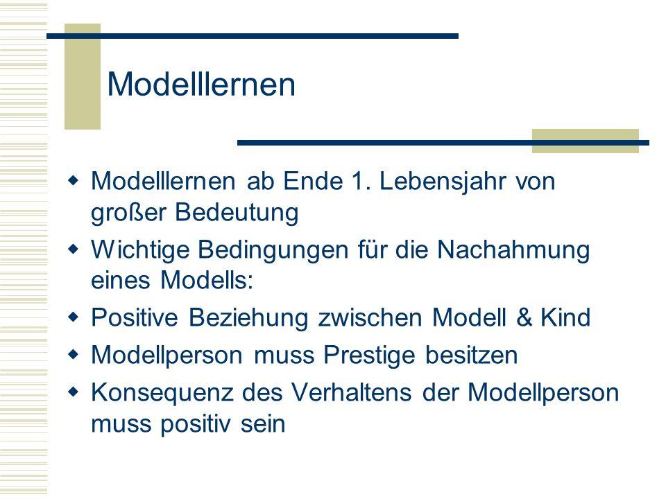 Modelllernen Modelllernen ab Ende 1. Lebensjahr von großer Bedeutung